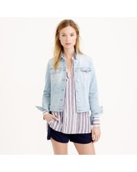J.Crew Stretch Denim Jacket In Pale Indigo Wash - Lyst