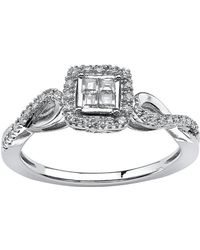 Palmbeach Jewelry - 1/4 Tcw Princess-cut Diamond Twisting Shank Ring In 10k White Gold - Lyst