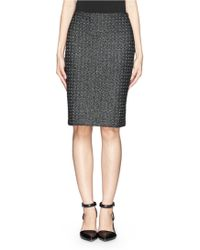 St. John Metallic Tweed Knit Pencil Skirt - Lyst