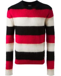 Diesel Red Striped Sweater - Lyst