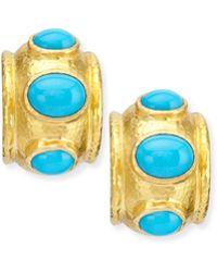 Elizabeth Locke - Turquoise Huggie Hoop Earrings - Lyst