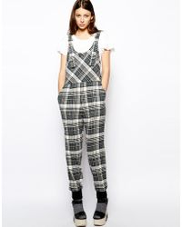 See By Chloé Plaid Overalls in Crinkle Wool - Lyst