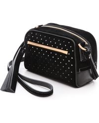 B Brian Atwood Perforated Barbara Cross Body Bag Black - Lyst