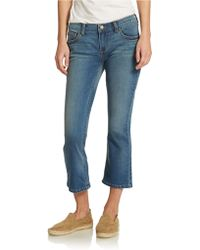 Free People Slim Kick Crop Jeans blue - Lyst