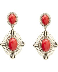 Guess Cabachon Stone Drop Earring - Lyst
