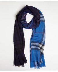 Burberry Blue and Purple Nova Check Wool-silk Gauze Scarf - Lyst