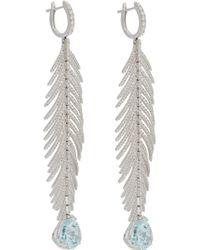 Sidney Garber - Aquamarine Diamond Feather Drop Earrings - Lyst