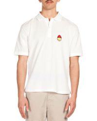 AMI Smiley Patch Short-Sleeve Polo - Lyst