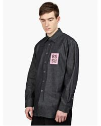 Raf Simons Men'S Dark Denim Shirt blue - Lyst