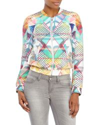 Maje Printed Silk Bomber Jacket - Lyst