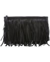 Prada Black Leather Fringe Clutch - Lyst