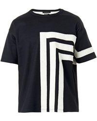 Alexander McQueen Appliqué Striped Jersey Tshirt - Lyst