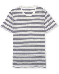 Club Monaco Stripe Short-Sleeved Henley - Lyst