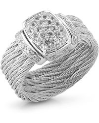 Charriol White Gold Sapphire Cable Ring Size 65 silver - Lyst