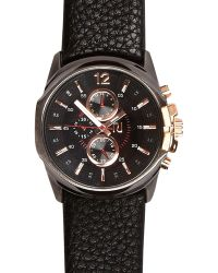 River Island Black Two Dial Cracked Strap Watch - Lyst