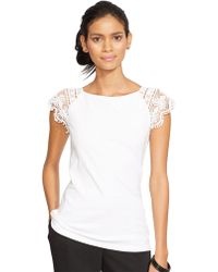 Lauren by Ralph Lauren Lace-Sleeve Cotton Top - Lyst