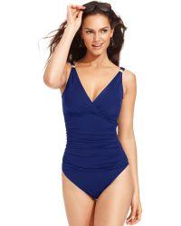 Lauren by Ralph Lauren Ruched Underwire One-Piece Swimsuit - Lyst