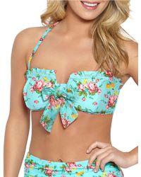 Betsey Johnson - Flower Bomb Bandeau Bikini Top - Lyst