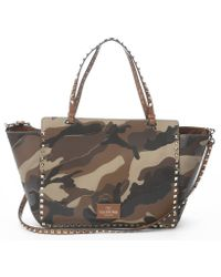 Valentino Camo Beige Studded Convertible Trapeze Tote - Lyst