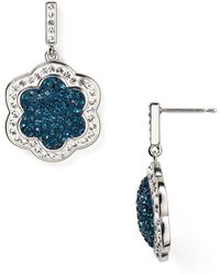Carolee Pavé Flower Drop Earrings - Lyst