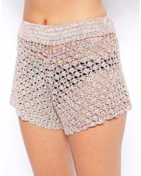 Asos Crochet Beach Short - Lyst