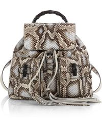 Gucci Bamboo Sac Python Backpack - Lyst