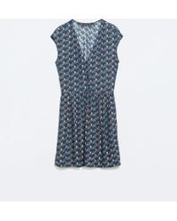 Zara Blue Printed Dress - Lyst