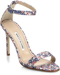 Manolo Blahnik Chaos Liberty Print Ankle-Strap Sandals multicolor - Lyst