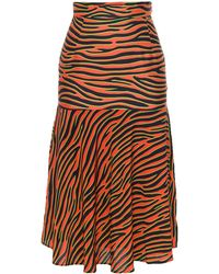 House Of Holland Beach Skirt Orange Zebra - Lyst