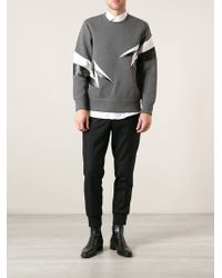 Neil Barrett Lightening Bolt Sweatshirt - Lyst