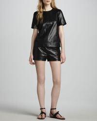 J Brand Tullia Snakeprint Leather Shorts - Lyst