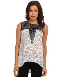 BCBGMAXAZRIA Avie Print Blocked Sleeveless Top - Lyst