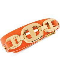 Michael Kors Gold-Tone Maritime Leather Bracelet - Lyst