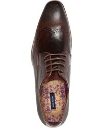 River Island Dark Brown Leather Perforated Wingtip Shoes - Lyst