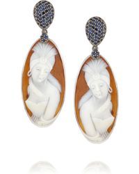 Amedeo Rhodiumplated Sardonyx Shell Diamond and Sapphire Cameo Earrings - Lyst
