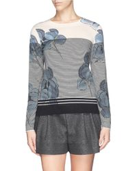 Tory Burch 'Audrianna' Floral Print Stripe Merino Wool Sweater - Lyst