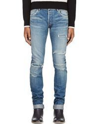 Balmain Distressed Slim Jeans - Lyst