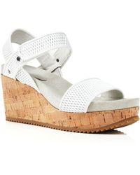 Eileen Fisher - Textured Leather Platform Sandals - Demo Wedge - Lyst