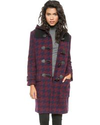 DKNY Hooded Coat with Leather Trim  Royal Navy - Lyst