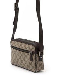 Gucci Preowned Beige Gg Canvas Web Stripe Shoulder Bag - Lyst