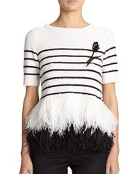 Oscar de la Renta Striped Sequin & Ostrich Feather Top - Lyst