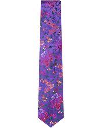 Duchamp Garden Floral Silk Tie Purple - Lyst
