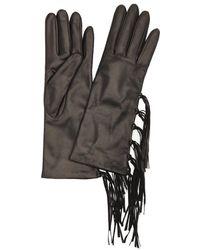 Portolano | Black Cashmere Lined Leather Fringe Gloves | Lyst