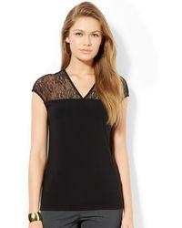 Lauren by Ralph Lauren Cap-sleeve Lace-trim Top - Lyst