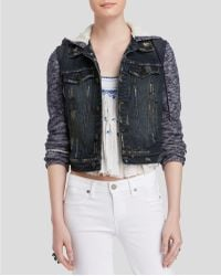 Free People | Denim And Knit Hooded Jacket | Lyst