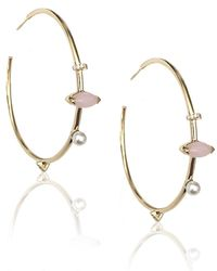 Phyne By Paige Novick | Hoop Earrings With Marquis Stone, Pearl And White Diamonds | Lyst