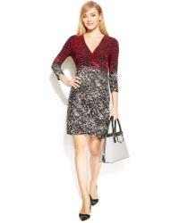 Calvin Klein Snakeskin-print Ombre Faux-wrap Dress - Lyst