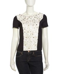 Sachin & Babi Sachin Babi Flowerembroidered Stretch Knit Top Blackwhite - Lyst