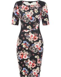 Therapy Floral Panel Scuba Bodycon Dress - Lyst