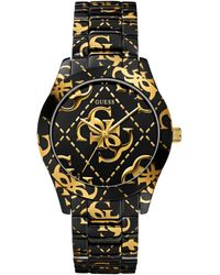 Guess Womens Gold-tone Logo Black Ion-plated Bracelet Watch 39mm - Lyst